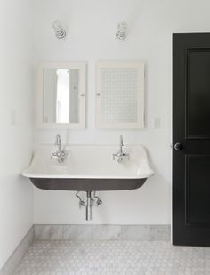 Brockway Sink - Design photos, ideas and inspiration. Amazing gallery of interior design and decorating ideas of Brockway Sink in bathrooms, laundry/mudrooms by elite interior designers. House Bathroom, Interior, Home, Kohler Brockway Sink, Tile Baseboard, Wood Baseboard, Bathrooms Remodel, Bathroom Design, Beautiful Bathrooms