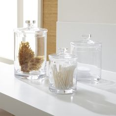 Set Of 3 Glass Canisters   Crate And Barrel