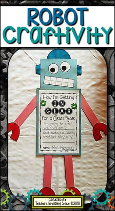 Robot Craft and Writing Project --- Included everything you need to create the adorable little robot craftivity shown in the picture! Makes a PERFECT bulletin board display for back-to-school or anytime of year! Robot Bulletin Boards, Bulletin Board Display, I Love School, Back To School, Robot Classroom, Classroom Ideas, Robot Theme, Love Teacher, Kindergarten Lessons
