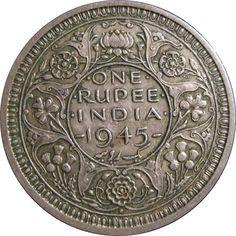One Rupee, India, 1945 La rupia (en hindi: रुपया) es la moneda oficial de la República de la India. Where To Buy Gold, Mother India, History Of India, Ancient History, Vintage India, Antique Coins, World Coins, Rare Coins, Coin Collecting
