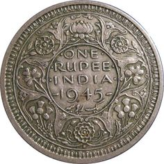One Rupee Coin, India,1945
