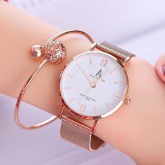 Hearty Duobla New Luxury Mesh Ladies Clock Buckle Starry Diamond Geometric Surface Casual Dress Quartz Wristwatch Women Watches 30q Volume Large Women's Watches