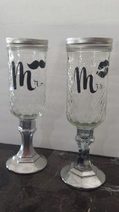 Redneck/Vintage champagne/toasting mason jar wedding glasses Mr. Mustache and Mrs. Lips vinyl customization by 1ArtsyVixen on Etsy