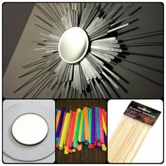 A sunburst mirror I made with popsicle sticks, stir sticks, kebab skewers, and a mirror (all from the dollar store)  #sun #sunburst #popsiclesticks #kebabskewers #spraypaint #mirror #diy #decoration #wall #hanging #ornament #craft #cheap #dollarstore