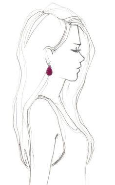Carved Rubellite, Diamond And Gold Earrings by Dana Rebecca - Moda Operandi