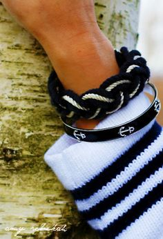 Gorgeous navy and white rope bracelet, enameled navy anchor bracelet and fabulous sweater...