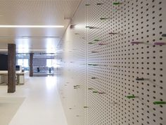 The acoustic walls are used as pegboards for brainstorming
