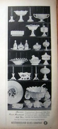 1959 Westmoreland Glass Handmade Milk Glass Print Ad Over 20 Pieces Vintage Dishes, Vintage Glassware, Antique Dishes, Westmoreland Glass, Fenton Glass, Glass Company, Carnival Glass, Glass Collection, Makers Mark