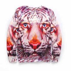 3D Tiger sweatshirts crew neck autumn animal sweatshirt for young people  Sudaderas ae2c1baea42