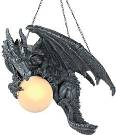 Aerial Gothic Medieval Dragon Sculpture Ceiling Lamp
