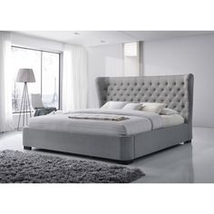 Hand-sewn buttons and thick, luxurious cushioning makes the Manchester platform bed an irresistible find. The unique wings on the fabric-covered headboard lend extra character to this exquisite bedroo Bedroom Furniture Stores, Furniture Deals, Bed Furniture, Recamaras King Size, Grey Platform Bed, Grey Upholstered Bed, Wingback Bed, Camas King, Headboard Cover