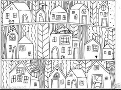 Rug-Hook-Paper-Pattern-Neighbors1-FOLK-ART-ABSTRACT-MODERN-UNIQUE-Karla-Gerard Kleurplaten