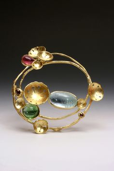 Liaung-Chung Yen | One of A Kind - The Garden Brooch, Spring Journal #3 - 18k Gold, Chocolate Diamonds, Tourmalines  (=)