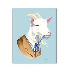 Well, isnt this predictable? We try to sit the goat down for a nice portrait session and he just starts eating his tie right away. We just fed him some radishes! Goats. What can you do? This is a digital archival print created from original pen and ink drawing. 5x7 - Comes with