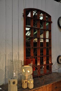 industrial wooden painted mirror