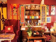 Tibetan Buddhist Shrine, ready for the lama, Tibetan Buddhism, South Bay Vajrayana, Silicon Valley, California, USA