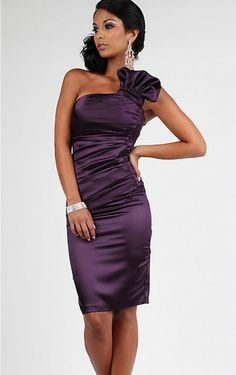50c1472a1e Sheath Knee-length One Shoulder Purple Dress Mini Prom Dresses