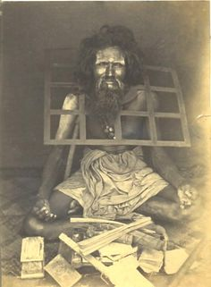 """""""An ascetic with a metal grid welded around his neck so that he can never lie down; photo, late 1800s."""""""