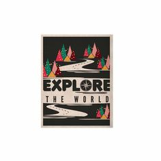 """Famenxt """"Explore the World"""" Black White KESS Naturals Canvas (Frame not Included)"""