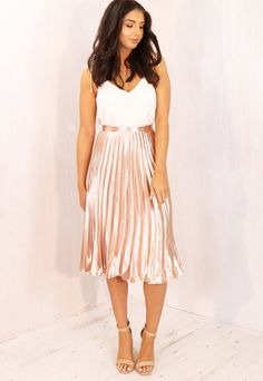 Metallic Satin Pleated High Waisted Midi Skirt in Rose Gold