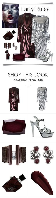 """""""Saint Laurent Silver Gathered Waist Dress Look"""" by romaboots-1 ❤ liked on Polyvore featuring Roberto Cavalli, Yves Saint Laurent, Monique Lhuillier, NOVICA, Illamasqua, Surratt and Christian Dior"""