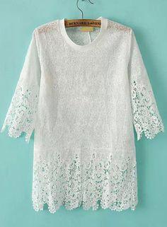 White Short Sleeve Hollow Floral Crochet Blouse 20.33