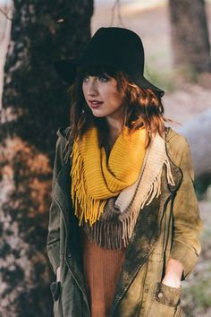 Colorblock Tri-tone Knit Infinity Scarf with Fringe in Mustard, Khaki and Sage Color Scheme