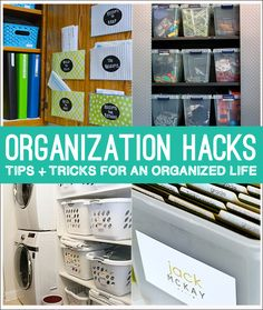 Organization Hacks! Tips and tricks to an organized life and family on www.thirtyhandmadedays.com