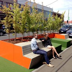 Barkly Village Parklet, West Footscray. The parklet forms part of Council's three year program of pop up activities in the City. The installation seeks to test the benefits of smaller park-like spaces in shopping precincts as a means of activation, and providing a place for gathering where public space is limited.
