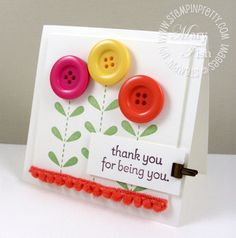 Bold Blossom using buttons in bright colors. . . LOVe!