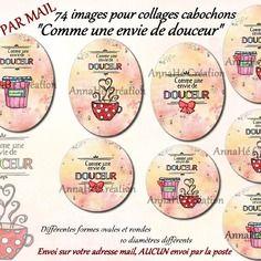 """Images digitales pour collage digital """"comme une envie de douceur"""" pour cabochon bijoux, envoi par mail"""