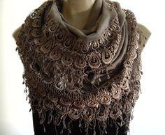 La BohemeTaupelaced and fringed by Textilemonster on Etsy, $25.00