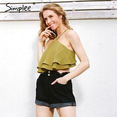 2e087025e Encontre mais Camis Informações sobre Simplee Plissado tanque camisola top  tees Sexy fora do ombro tarja