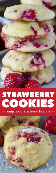 Easy Strawberry  Cookies with white chocolate chunks. Only 4 ingredients Best cookies recipe ever!