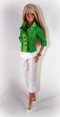 Barbie Clothes -  Shades of Green Jacket and White Capris. $15.99, via Etsy.
