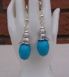 Handmade Turquoise Dangle Earrings with Silver by evecollection, $17.00