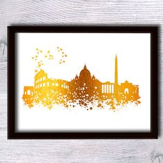 Rome print Rome poster Rome Italy foil decor Rome skyline print Cityscape real foil poster Home decoration Office wall art Gift idea Skyline Painting, Skyline Art, Kids Room Wall Art, Office Wall Art, Gold Foil Print, Foil Prints, Home And Deco, Art Background, Rome Italy