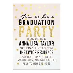 "Gold Glitter Polka Dot Graduation Party Invitation 5"" X 7"" Invitation Card"