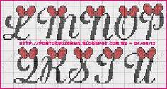 Resultado de imagem para alfabeto da minnie em ponto cruz