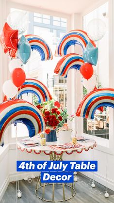 Patriotic Party, 4th Of July Party, Fourth Of July, Balloon Arrangements, Balloon Centerpieces, Rainbow Balloons, Gold Balloons, 4th Of July Decorations, Diy Party Decorations