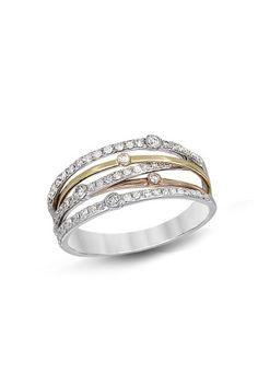 14K Gold Tri Color Diamond Rings, .39 TCW