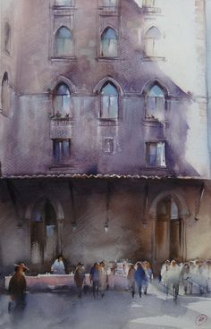 Ilya Ibryaev  - In the courtyard of the Cathedral of St.. Antoine Istiklal Street - Istanbul - watercolor (53х35) cm