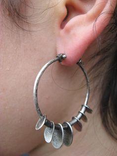 Sterling silver pebble tribal hoop earrings by LisaColbyMetalsmith Amethyst Earrings, Crystal Earrings, Sterling Silver Earrings, Diamond Earrings, Silver Rings, Crystal Jewelry, 925 Silver, Bar Earrings, Minimalist Earrings