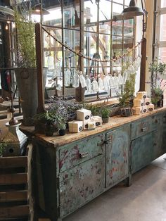 The owner of this store purchased a vintage piece is from Roundtop TX to display their products. Love the chippy green paint! The owner of this store purchased a vintage piece is from Roundtop TX to display their products. Love the chippy green paint! Vintage Industrial Furniture, Industrial Interiors, Repurposed Furniture, Modern Industrial, Painted Furniture, Industrial Office, Industrial Living, Industrial Bedroom, Industrial Farmhouse