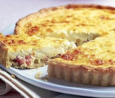 Oven baked quiche lorraine.Delicious quiche with Cheddar cheese and bacon baked in oven.