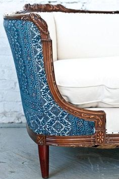 Way cool furniture makeover via Scouted Home - Love the Blue Batique on the back of this beautiful French settee upholstered in white cotton