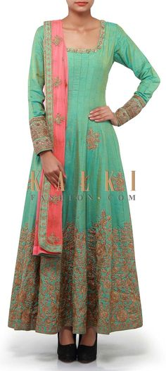 Buy Online from the link below. We ship worldwide (Free Shipping over US$100). Product SKU - 300910. Product Link - http://www.kalkifashion.com/sea-blue-anarkali-suit-adorn-in-zari-embroidery-only-on-kalki.html