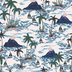 View top-quality illustrations of Vector Seamless Retro Style Hawaii Pattern With Mountains. Find premium, high-resolution illustrative art at Getty Images. Beachy Wallpaper, Chic Wallpaper, Tree Wallpaper, Friends Wallpaper, Macbook Wallpaper, Hawaii Pattern, Tropical Pattern, Swiss Family Robinson, Estilo Retro