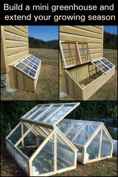 If you like the idea of extending your growing season, then this mini greenhouse is a great solution. The mini greenhouse / cold frame featured above is easy and simple to build with a size of Diy Greenhouse Plans, Backyard Greenhouse, Backyard Patio, Backyard Landscaping, Greenhouse Growing, Greenhouse Wedding, Homemade Greenhouse, Backyard Ideas, Cheap Greenhouse