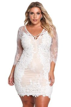 b90a9e12495 Her BIG n TRENDY White Plus Size Floral Lace Embroidered Dress